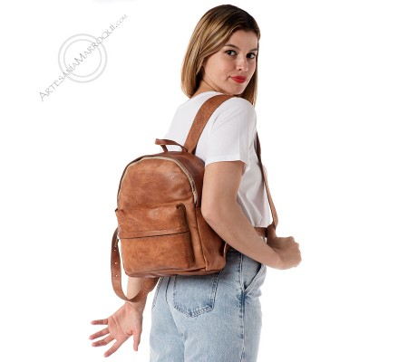 Small Thick Leather Simple Backpack