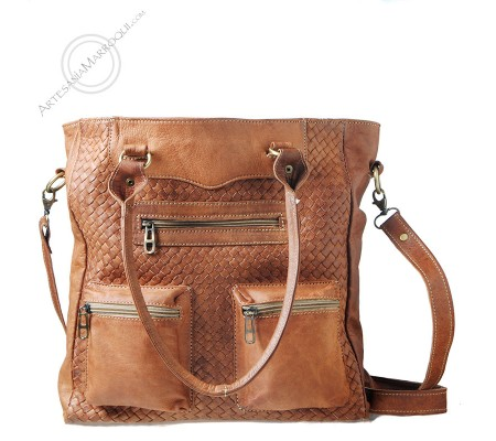 Braided leather bag with two pockets