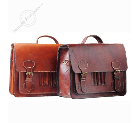 Leather briefcase with pencil holder