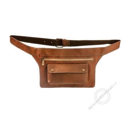 Camel large flat belt bag