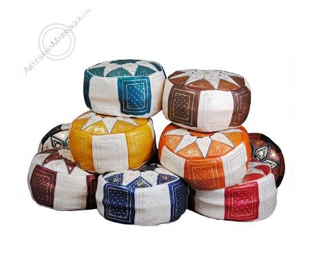 Large bicolor pouf