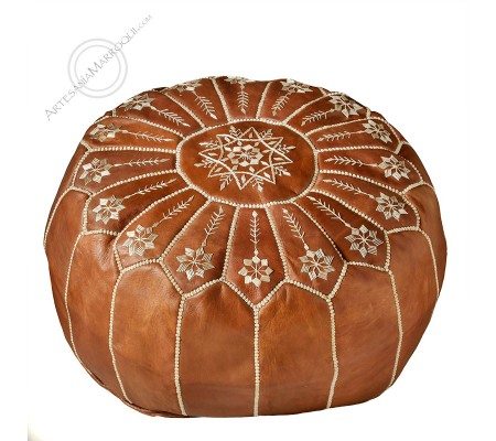 Brown embroidered leather pouf