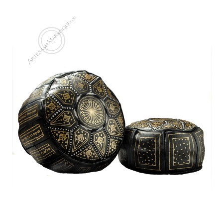 Black bean bag with golden drawings