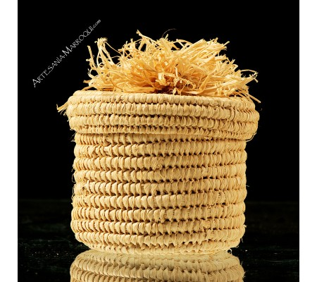 Braided raffia pot