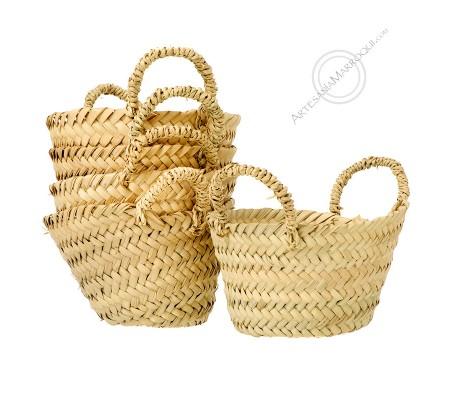 Mini palm basket with handles