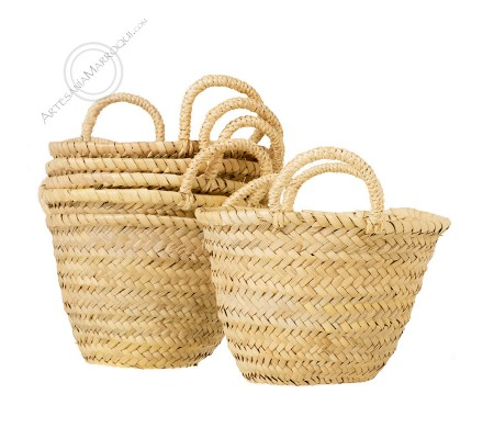 Small palm basket with handles
