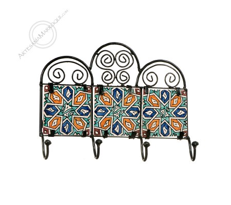 Forge coat rack with four tiles