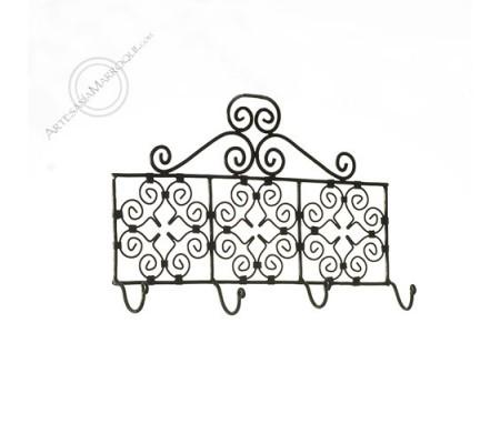 Wrought iron coat rack with four hooks