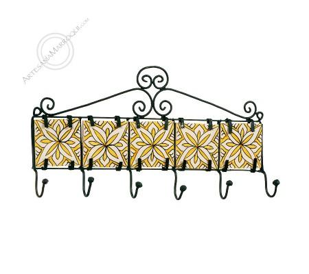 Wrought iron coat rack with six hooks with yellow tiles