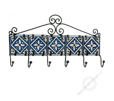 Wrought iron coat rack with six hooks with blue tiles