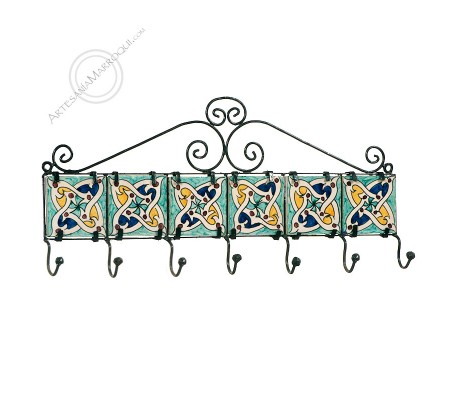 Wrought iron coat rack with seven hooks with tiles