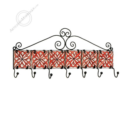 Wrought iron coat rack with seven hooks with red tiles