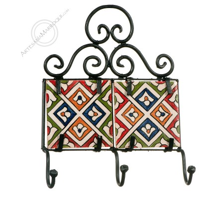 Wrought iron coat rack with three hooks with tiles